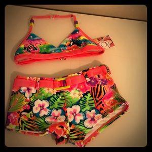 Girls 2 piece rhinestoned bathing suit.